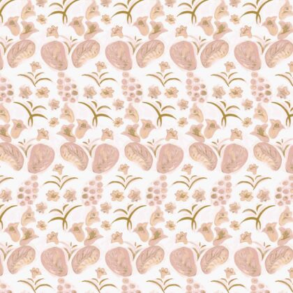 Linen fabric printed with a hand painted floral design repeat pattern in gold and pink on pale pink background full pattern repeat