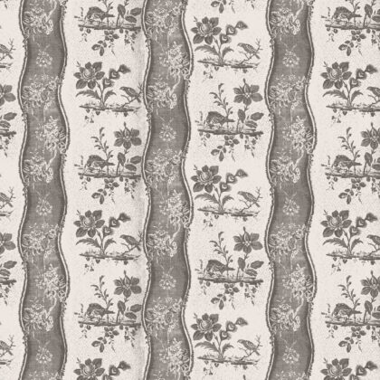 Linen fabric printed design with traditional style delicate floral repeat stripe pattern in coal grey brown on neutral background full pattern repeat