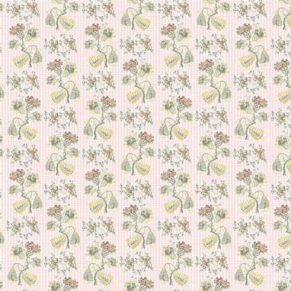 Full pattern repeat of Linen fabric printed with a design in a delicate floral repeated pattern on a plain background