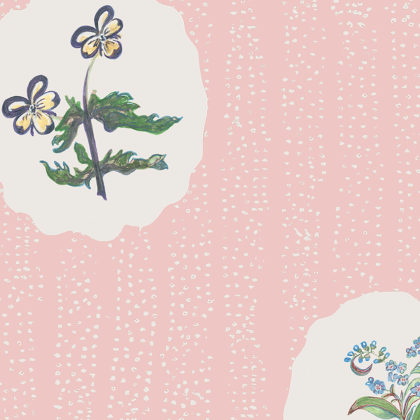 Linen fabric printed with a repeat design of delicate floral botanical plant pattern in white circles on pale pink background