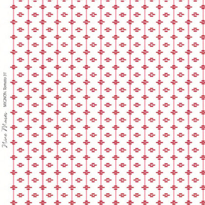 Linen fabric printed repeat stripe pattern with diamond detail in tomato red on white background