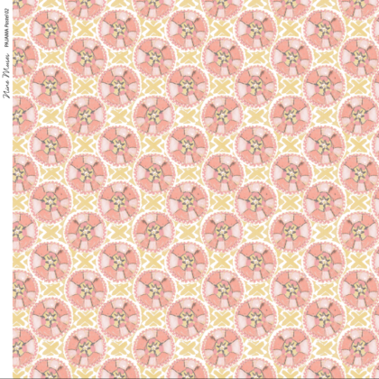 Linen fabric printed with a hand painted circle and cross button-like design repeat pattern in pale peach on pastel peach background