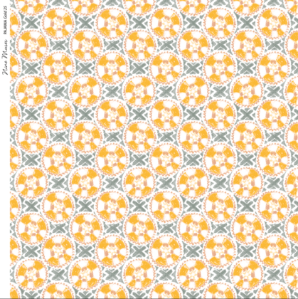 Linen fabric printed with a hand painted circle and cross button-like design repeat pattern in gold white and grey