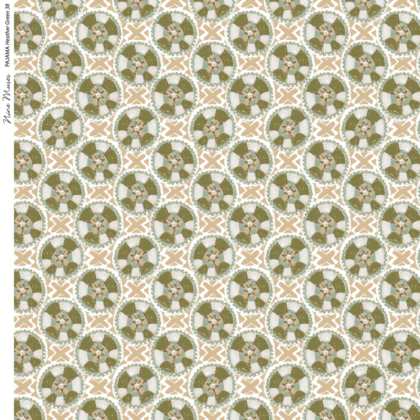 Linen fabric printed with a hand painted circle and cross button-like design repeat pattern in green and heather blue