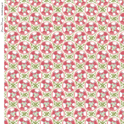 Linen fabric printed with a hand painted circle and cross button-like design repeat pattern in green and white on red background
