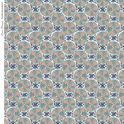 Linen fabric printed with a hand painted circle and cross button-like design repeat pattern in green orange blue purple