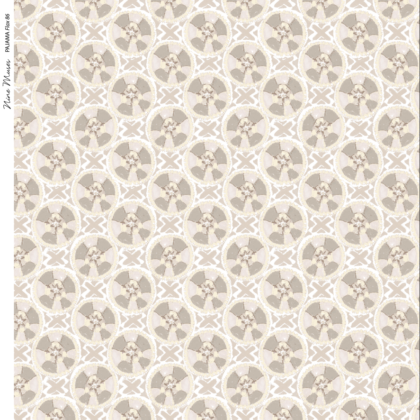 Linen fabric printed with a hand painted circle and cross button-like design repeat pattern in white taupe flax