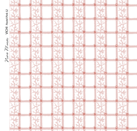 Linen fabric printed with delicate hand painted grid design and small repeat pattern in pale pastel pink on white background