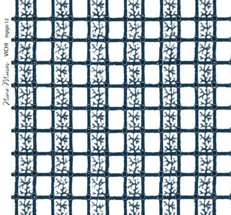 Linen fabric printed with delicate hand painted grid design and small repeat pattern in indigo blue on white background