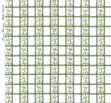 Linen fabric printed with delicate hand painted grid design and small repeat pattern in green on white background