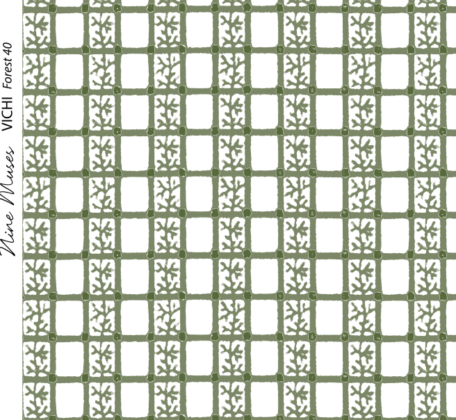 Linen fabric printed with delicate hand painted grid design and small repeat pattern in dark forest green on white background