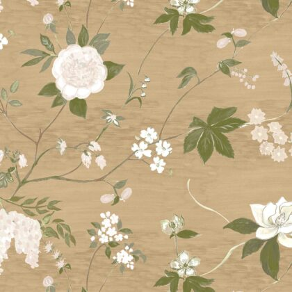 Linen fabric printed with a hand painted delicate floral design repeat pattern in white and green on caramel background