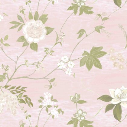 Linen fabric printed with a hand painted delicate floral design repeat pattern in white and green on pale pink background