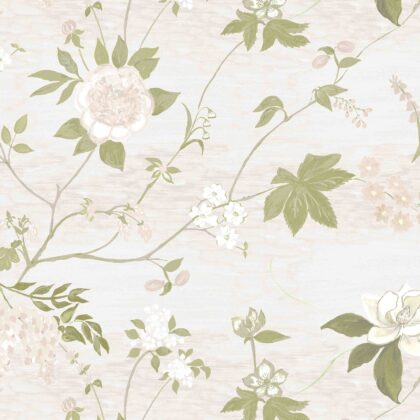 Linen fabric printed with a hand painted delicate floral design repeat pattern in white and green on linen background