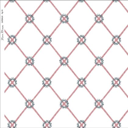 Linen fabric printed with hand painted simple diamond circle design repeat pattern in pink fig on white background