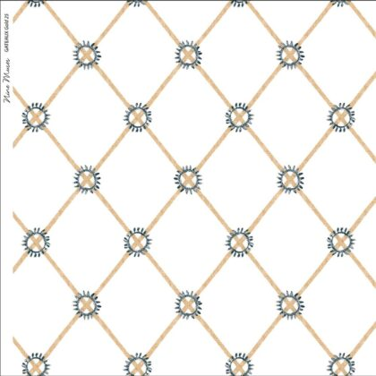Linen fabric printed with hand painted simple diamond circle design repeat pattern in gold on white background