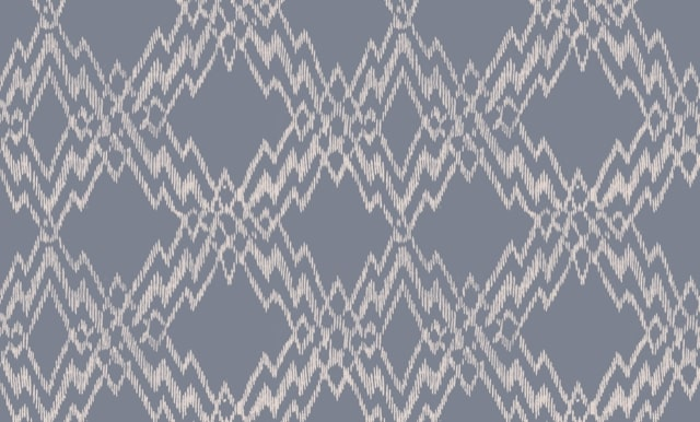Linen fabric printed with zig zag repeat diamond pattern design with colour background