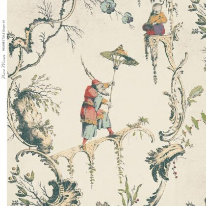 Linen fabric printed with large repeat pattern of traditional toile design